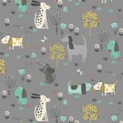 A Walk in The Park by Makower UK - 6458 - Dogs on Grey - 2143_S - Cotton Fabric